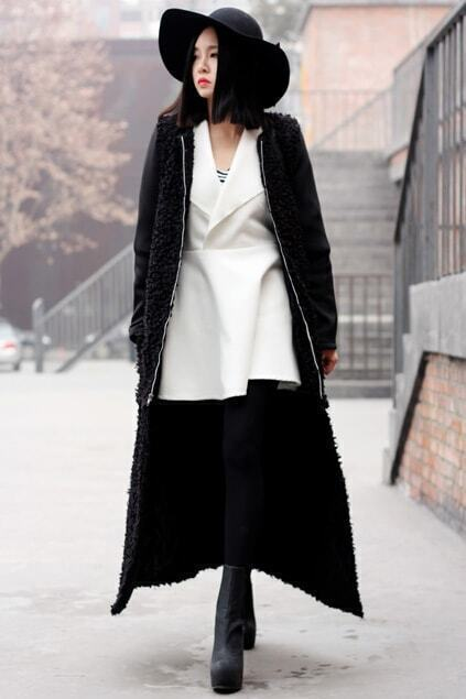 Zippered Detachable Black Coat