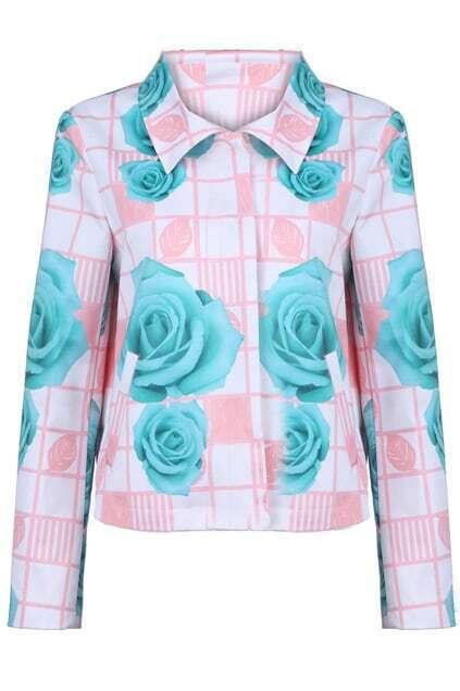 Green Rose Pink Plaid Coat