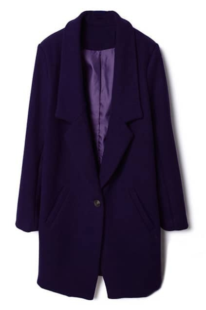 Single Buttoned Purple Woolen Coat