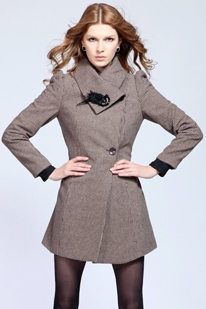 Cowl Lapel Brown Coat
