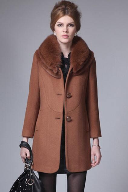Faux Fur Collar Dark Camel Coat