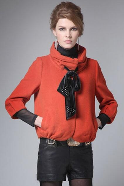 Stand Collar Seven Sleeves Orange Coat