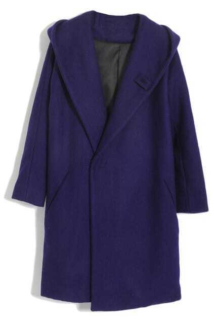 Lapel Blue Woolen Coat