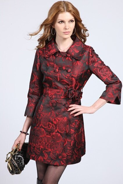 Flowers Printed Black-red Trend Coat