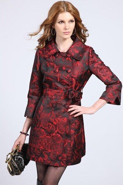 Flowers Printed Black-red Trend Coat