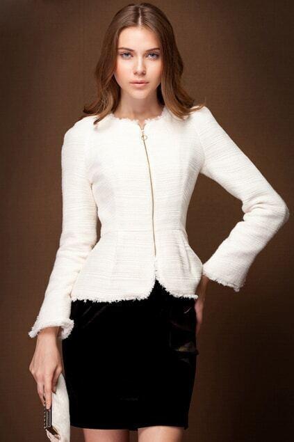 Zipper White Tweed Coat