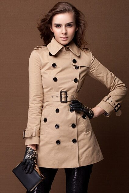 Double-breasted Camel Trench Coat