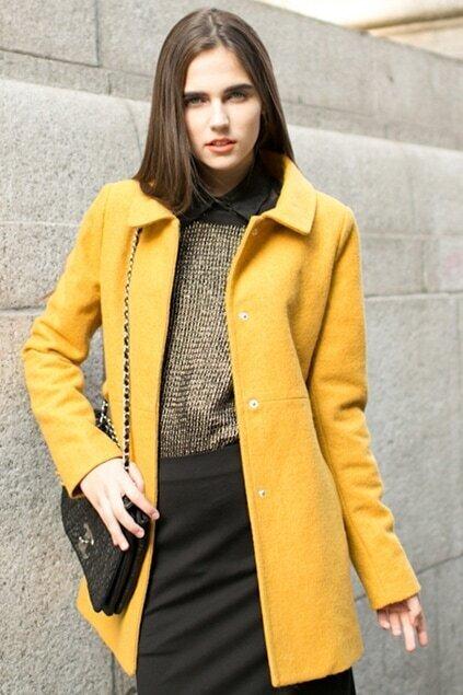 Chic Style Yellow Coat