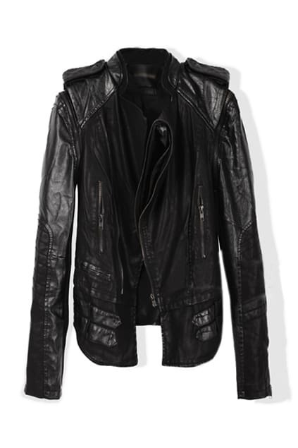 Detachable Black Leather Coat