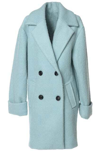 Lapel Green Woolen Coat