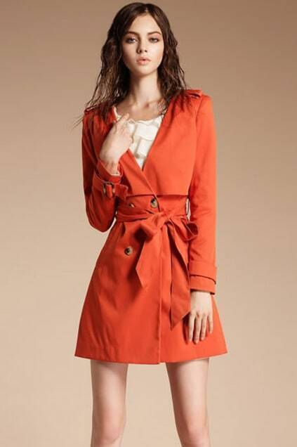 Self-tied V-neck Red Trench Coat