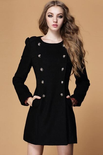 Splicing Double-breasted Black Woolen Coat