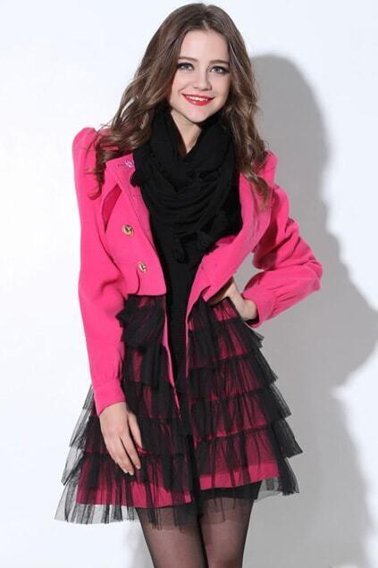 Splicing Buttoned Rose Woolen Coat