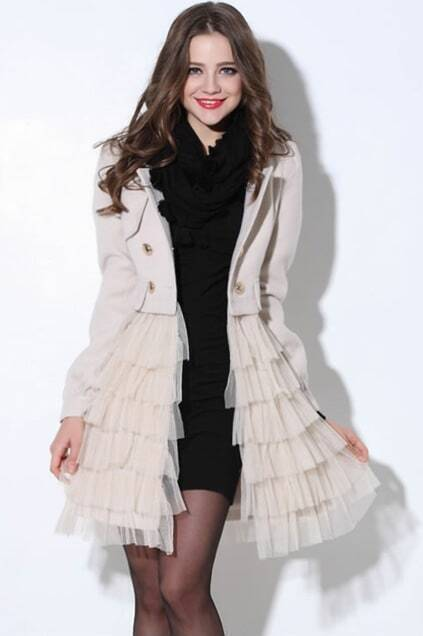 Splicing Buttoned Cream Woolen Coat