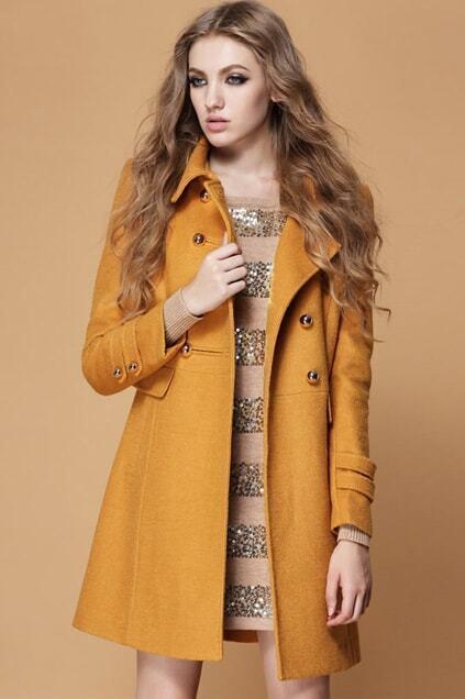 Buttoned Yellow Woolen Coat