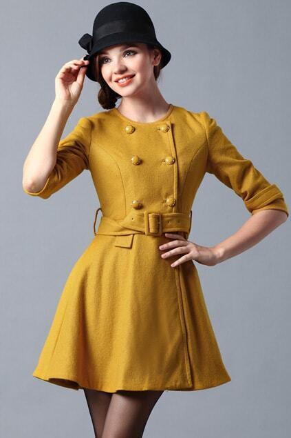 Detachable Collar Yellow Coat