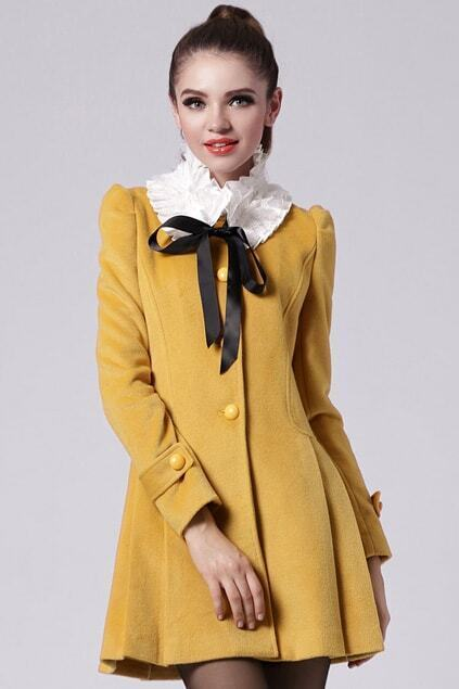 Detachable Collar Yellow Pleats Coat