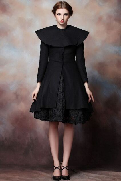 Cape-style Black Woolen Coat