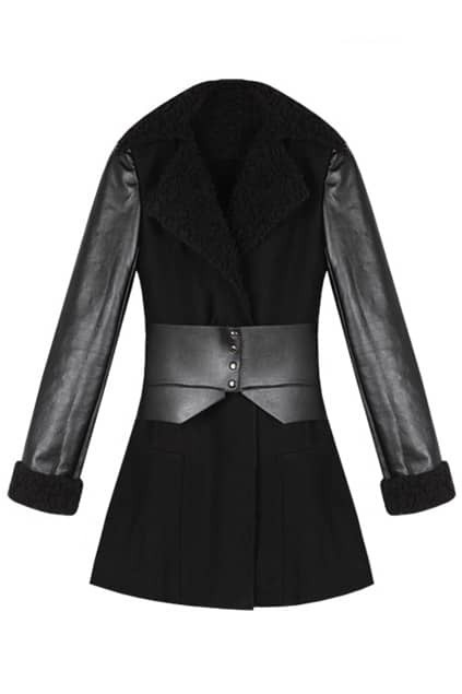 Lapel Black Woolen Coat