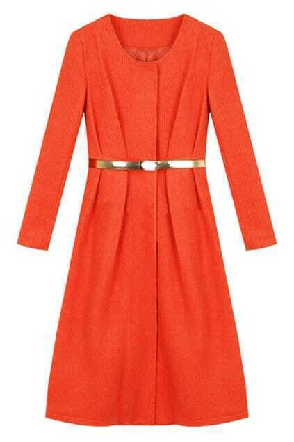 Solid Color Orange-red Woolen Coat