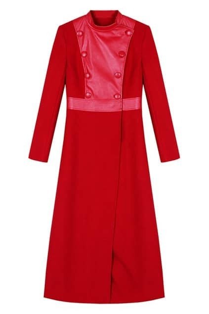 Double-breasted Red Woolen Coat