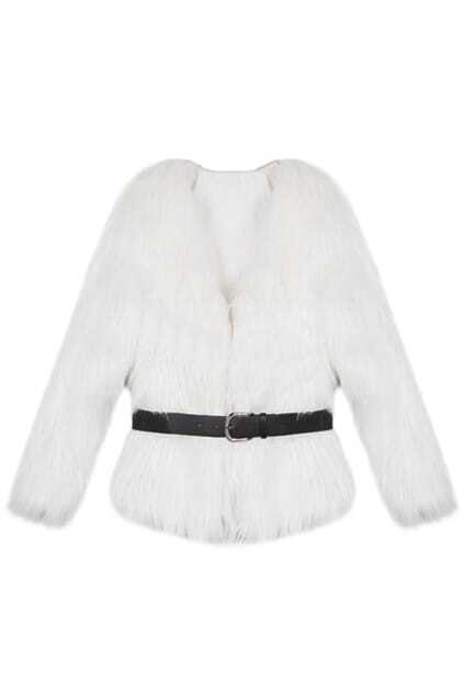 Faux Fur White Coat