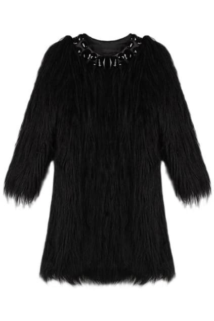 Beads Ninth-sleeves Black Coat