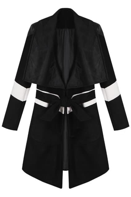 Contrast Color Black Coat