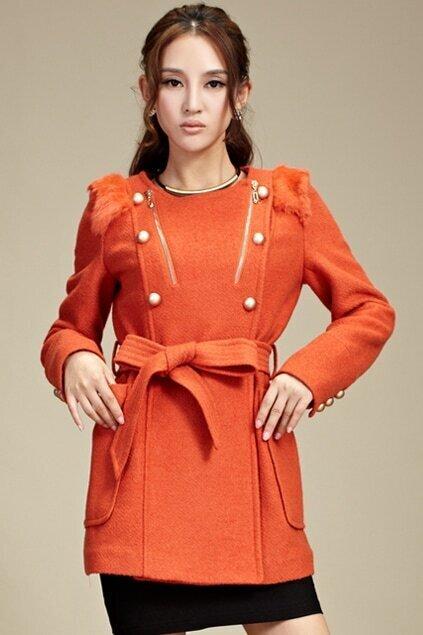 Zippered Self-tied Orange Woolen Coat