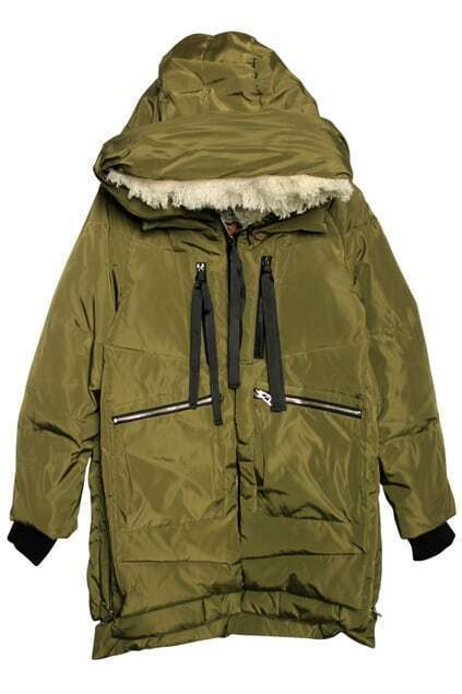 Zippered Multi-layers Army-green Down Coat