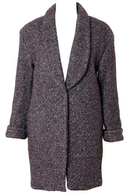 Rolled-edge Dark-grey Woolen Coat
