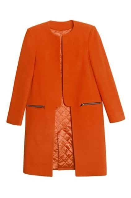 Asymmetric Orange Woolen Coat