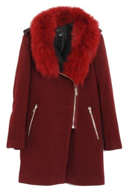 Detachable Zippered Claret-red Woolen Coat