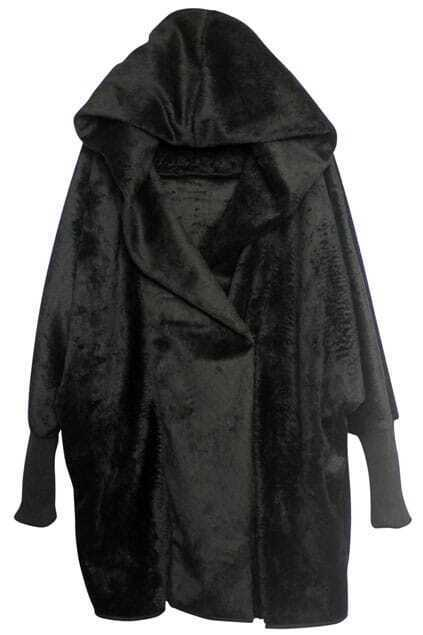 Batwing Hooded Black Coat