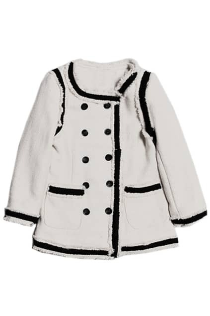 Double-breasted Black-white Woolen Coat