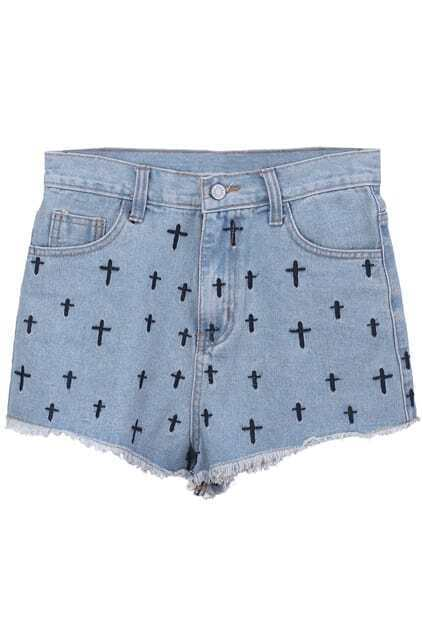 Cross Embroidery Light-blue Shorts