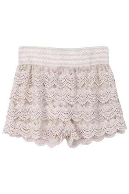 Apricot Layered Lace Shorts