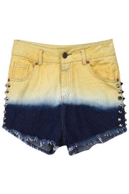 Riveted Color Block Yellow-blue Shorts