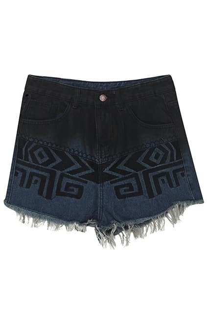 Geometric Pattern Embroidered Blue Shorts