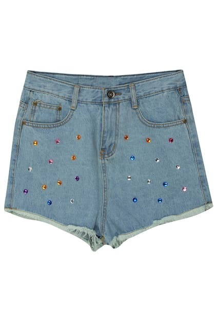 Colorful Diamante Light-blue Shorts