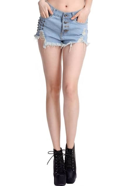 Distressed Riveted Light-blue Shorts