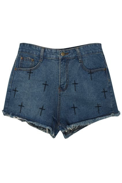 Cross Embroidered Blue Shorts