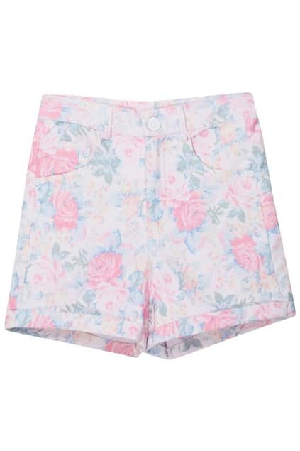 Rolled Cuffs Floral Shorts