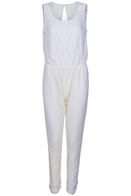 V-neck Hollow Cream Lace Jumpsuit