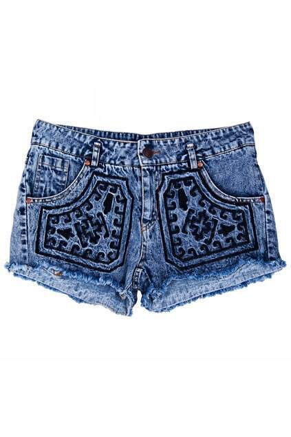 Pattern Embroidered Shorts