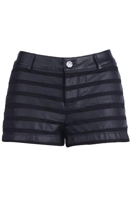 Black Fabric Splicing Shorts