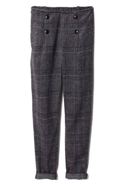 Double-breasted Dark-grey Plaid Pants