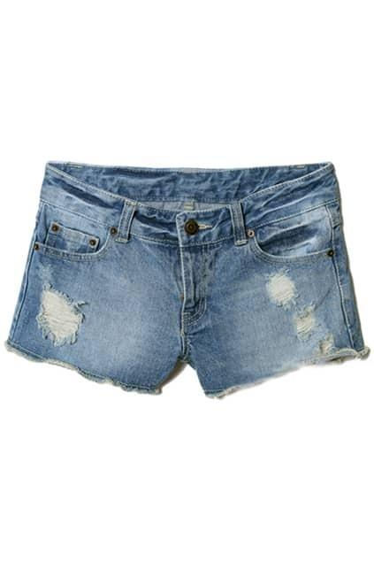 Shreded Threadbare Blue Shorts