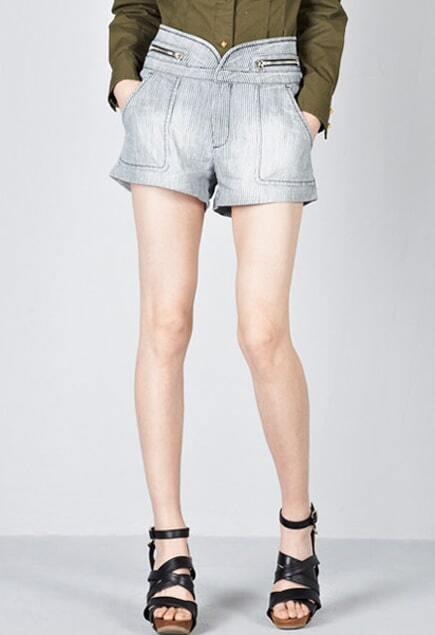 High Waist Blue-white Short