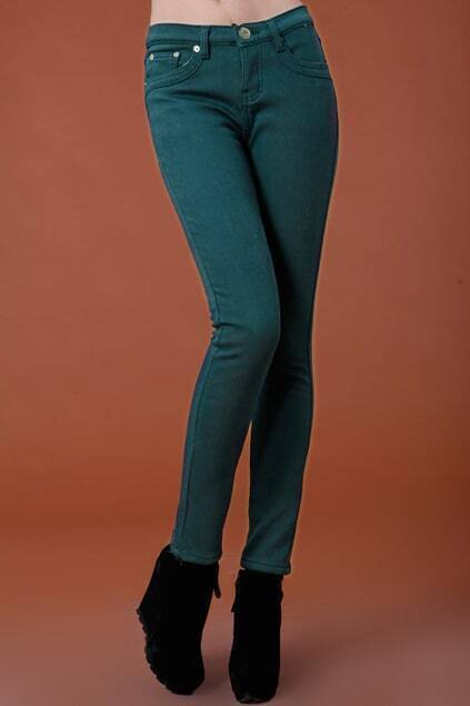 Thicken Green Pencil Pants